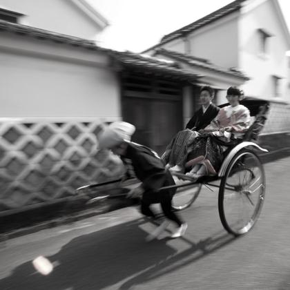 萩市内人力車で写真撮影