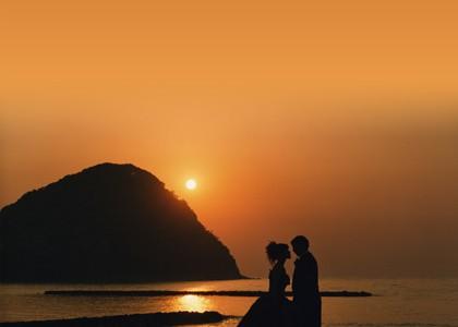 結婚写真の夕陽撮影