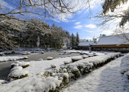 雪の常栄寺雪舟庭園
