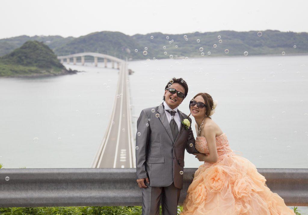 シャボン玉と角島大橋