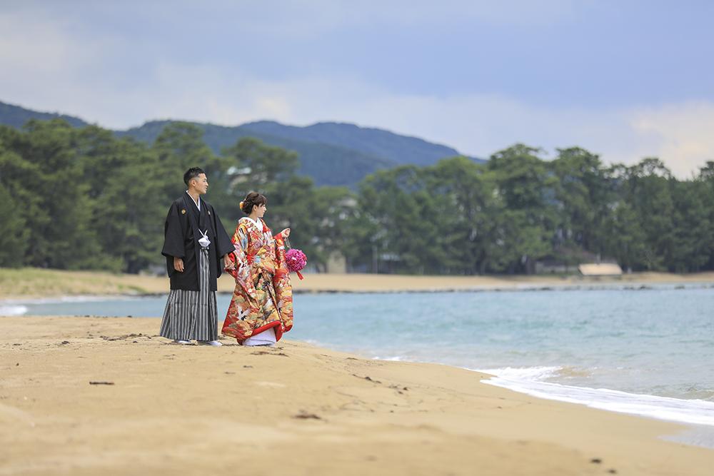 菊が浜和装結婚写真