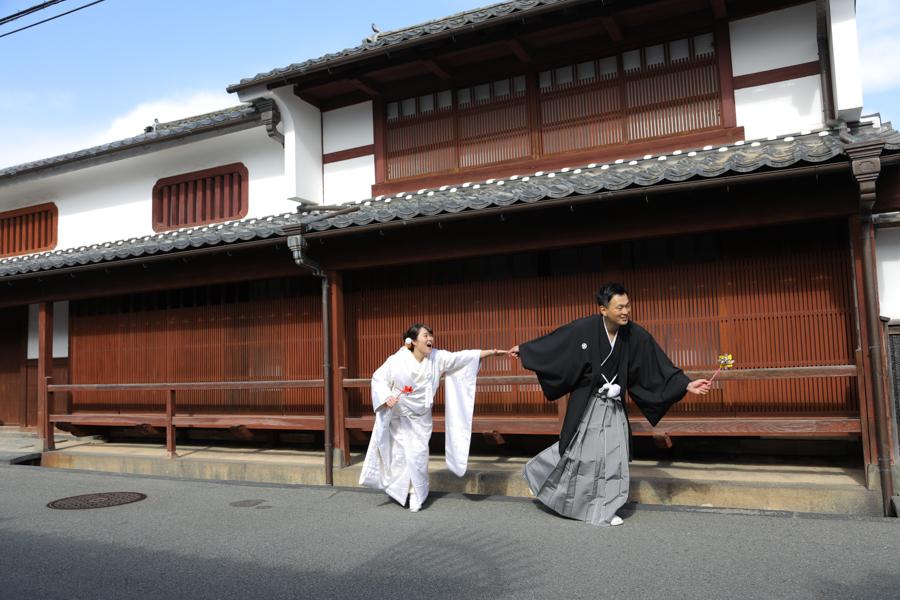 世界遺産の萩城下町で結婚写真