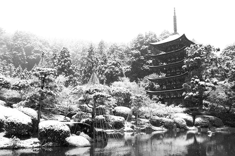 瑠璃光寺五重塔雪景色